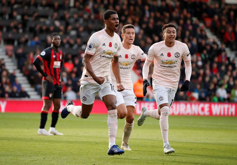 Marcus Rashford deed het voor United.