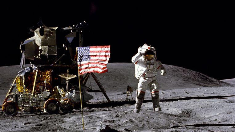 Buzz Aldrin tijdens zijn wandeling op de maan in 1969 Beeld getty