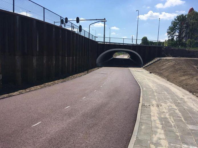 De nieuwe fietstunnel onder de Europalaan in Kaatsheuvel.
