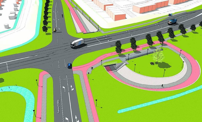 Een impressie van de nieuwe kruising Wijbosscheweg/Structuurweg.