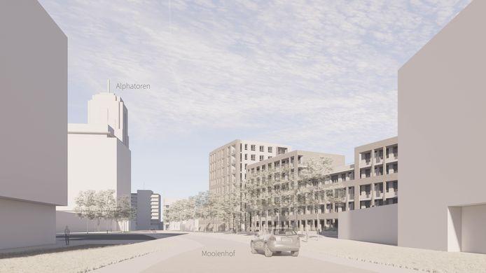 In hoogte verschillende appartementencomplexen van het nieuwe binnenstadsbuurtje, grenzend aan de Mooienhof.