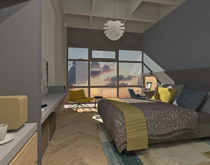 Een impressie van een kamer in het nieuwe U Parkhotel op de campus