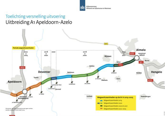 De totale verbreding A1 tussen Apeldoorn-Azelo loopt tot en met 2025