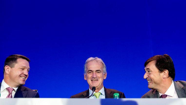 Pieter Elbers (CEO KLM), Frederic Gagey (CFO Air France) en Franck Terner (CEO Air France) Beeld ANP