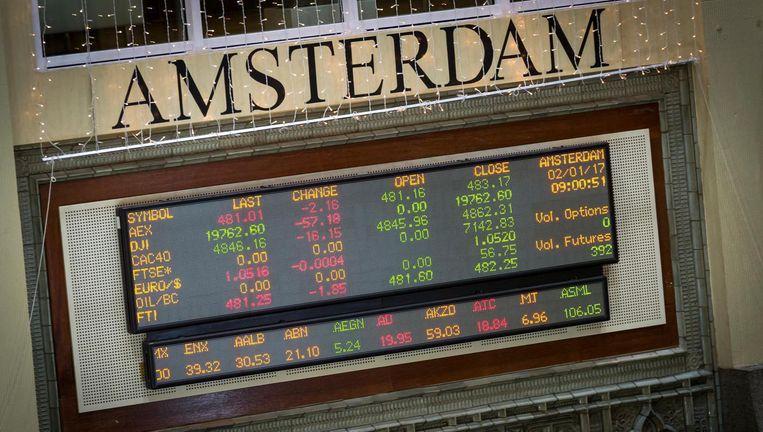 De AEX-hoofdindex aan het Damrak sloot 0,2 procent hoger op 527,85 punten. Beeld anp