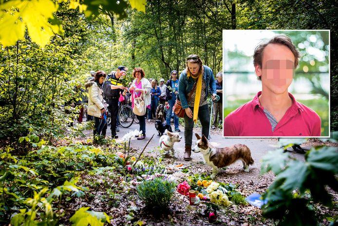 Hondenbezitters lopen mee met de stille tocht voor de vrouw die in de Scheveningse Bosjes met een mes werd gedood. Inzetje: Thijs H.