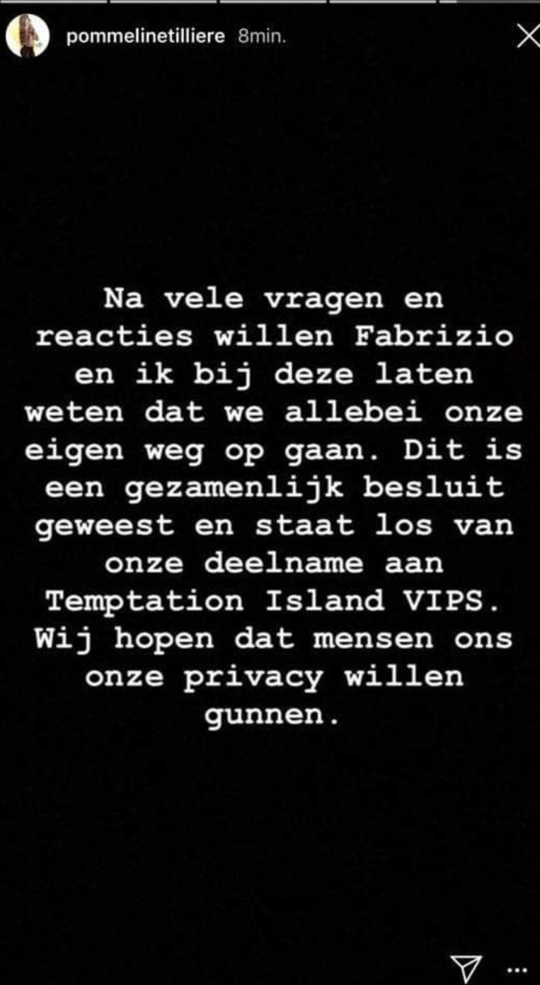 Het bericht van Pommeline op Instagram.