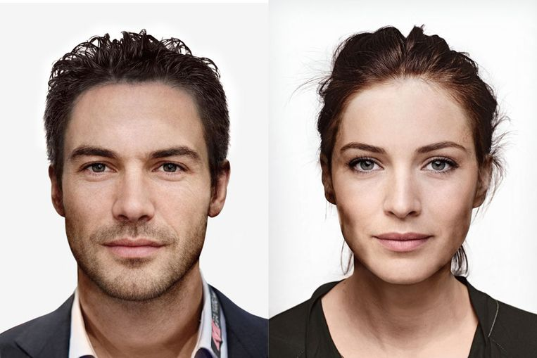 Compositiebeelden van de mooiste man en vrouw, opgebouwd uit zes tot mooist verkozen Bekende Nederlanders. (Foto Facelab / University of Aberdeen) Beeld null