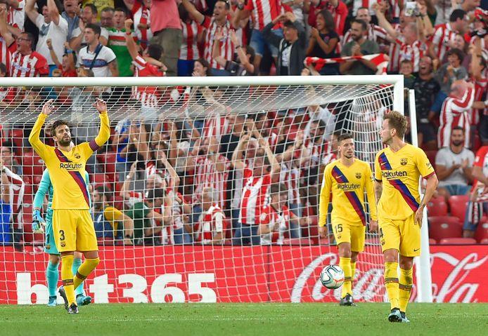 Teleurstelling bij Barça na de goal van Bilbao.