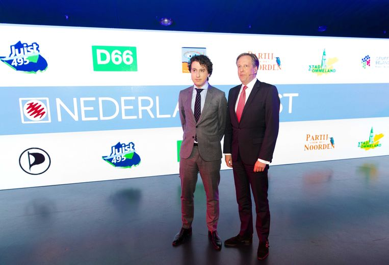 Jesse Klaver (Groenlinks) en Alexander Pechtold (D66) tijdens het televisiedebat aan de vooravond van de gemeenteraadsverkiezingen. Beeld anp