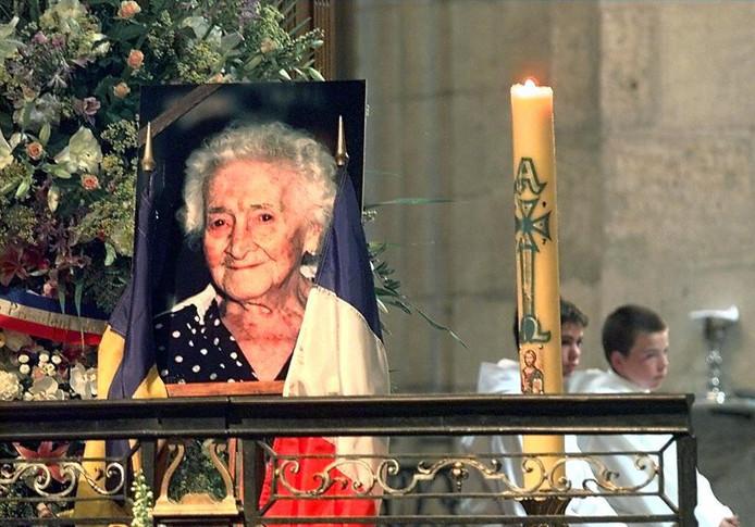 Gedenkprentje voor Calment tijdens haar begrafenis.