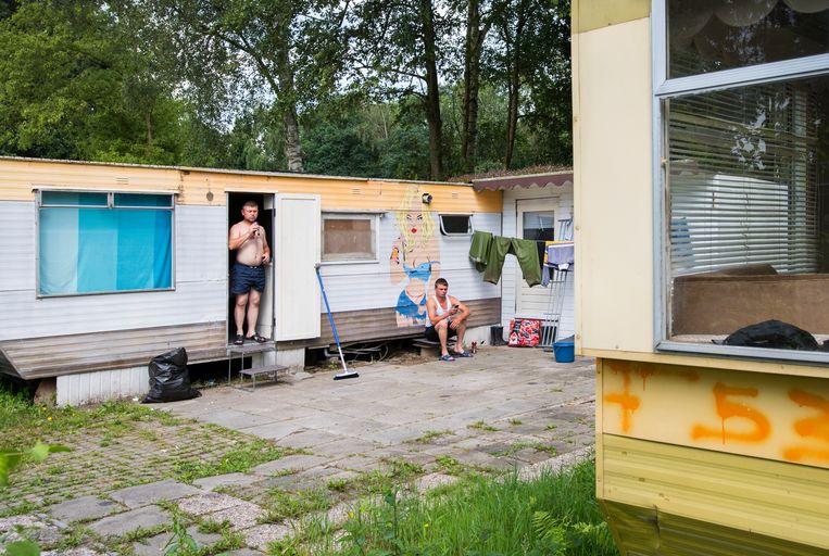 Huisvesting van Poolse arbeidsmigranten op een recreatiepark in Rijsbergen.  Beeld ANP