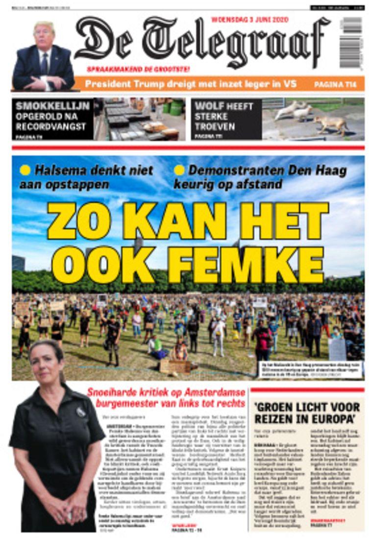 De voorpagina van De Telegraaf, twee dagen na de demonstratie in Amsterdam, bij het protest in Den Haag wel de afstand wordt bewaard. Beeld