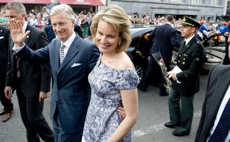 Prinses Mathilde en prins Filip komen aan bij het Paleis voor Schone Kunsten voor een concert ter gelegenheid van de troonswisseling. Beeld anp