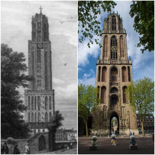 Links de Domtoren met de klok die hoog zit, rechts de toren met de klok op een lagere plek.