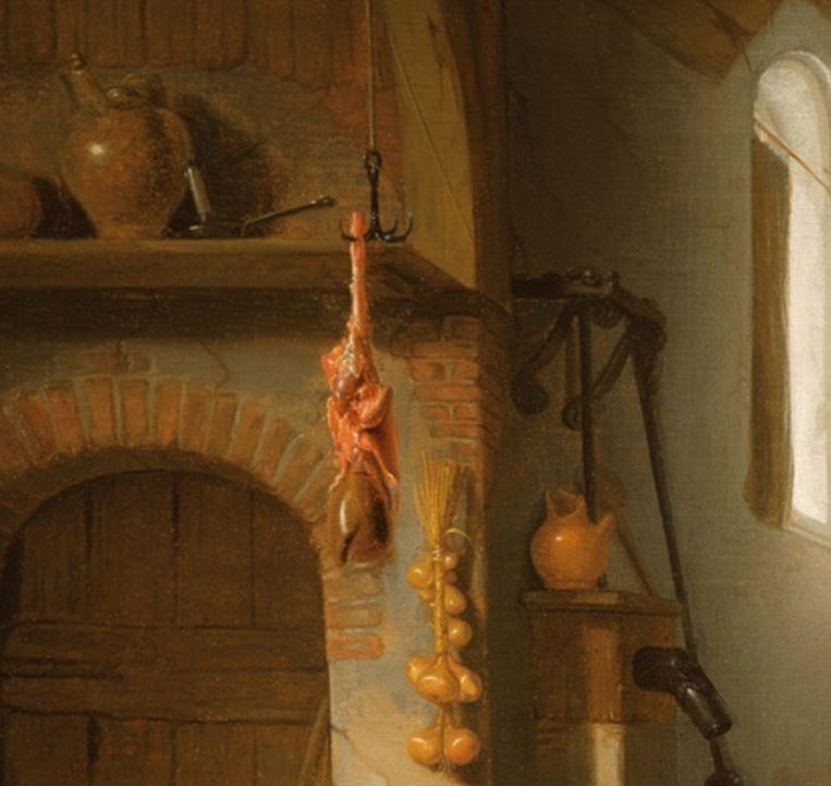 Detail van het schilderij uit een van de eerste afleveringen van Oog voor Detail: Hendrick Martensz Sorgh, Interieur met Jacob en Esau, 1662. Links: detail. Beeld Hoogsteder & Hoogsteder Den Haag