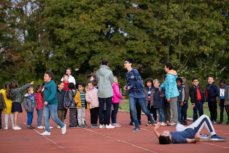 Leerlingen van GO! basisschool 't Pleintje tijdens de sponsorloop