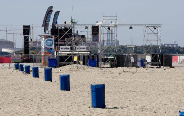 Het festivalterrein van Sunset Grooves op het strand van Hoek van Holland. ANP Beeld