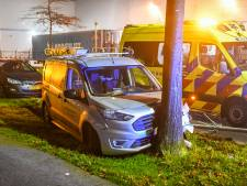Auto wijkt uit voor vrachtwagen, ramt boom en cameramast