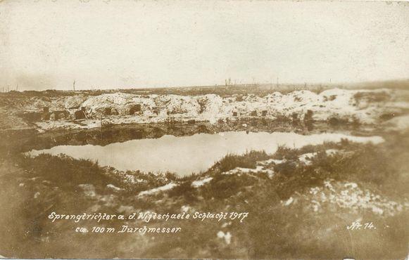 Een beeld van de krater eind 1917.
