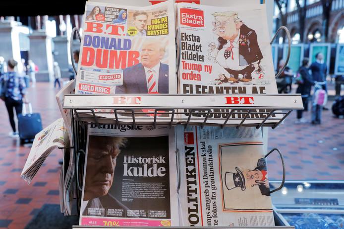 Kranten in Kopenhagen stonden vol met nieuws over de ruzie van Trump met premier Mette Frederiksen.