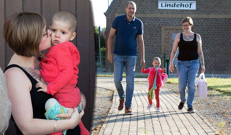 Ook voor leukemiepatiëntje Zary was het vandaag de eerste schooldag.