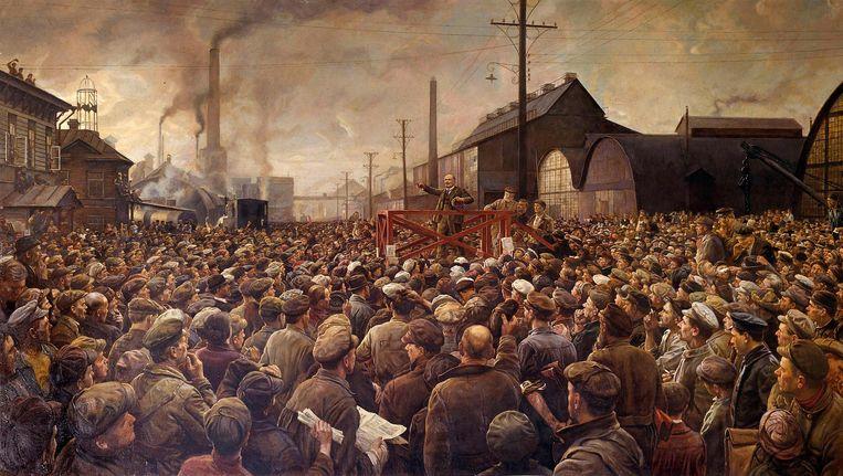 Isaak Brodsky: De Russische Revolutie van 1917. Lenin spreekt in Sint-Pietersburg tot de arbeiders van de Putilov-fabriek. Collectie National Gallery, Praag. Beeld null