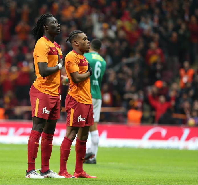 Garry Mendes Rodrigues met zijn Franse collega-aanvaller Bafétimbi Gomis, dit seizoen al goed voor 28 doelpunten voor Galatasaray.