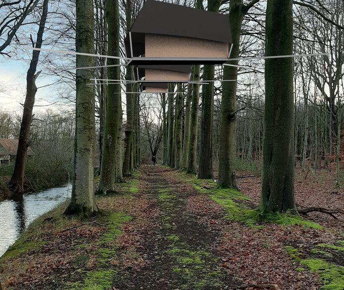 Een simulatiebeeld: zo zullen de boomhutten op drie meter hoog in het Ryckeveldebos hangen.