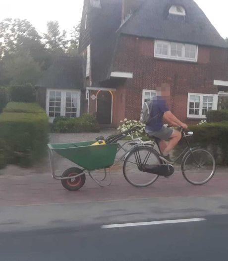 Fietsende kruiwagendief slaat al tientallen keren toe in Utrechts dorpje, zelfs lok-kruiwagen helpt niet: wie is die man toch?