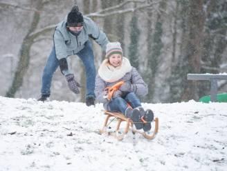 Kinderen genieten volop van de sneeuw op en rond speelplein in Gavere