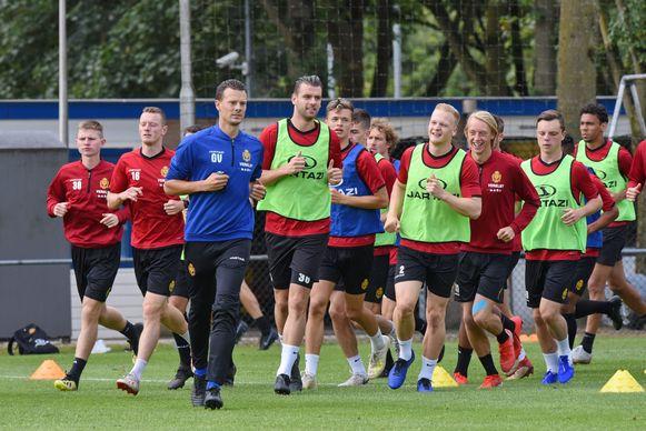 De spelers van KV Mechelen op training.