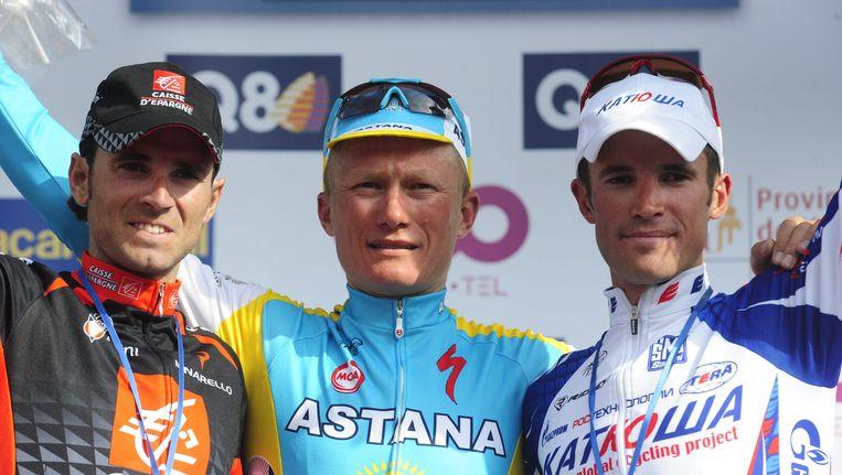 Alexandre Vinokourov (m) won in 2010 Luik-Bastenaken-Luik, maar zou daarvoor nummer twee Alexandr Kolobnev (r) hebben omgekocht