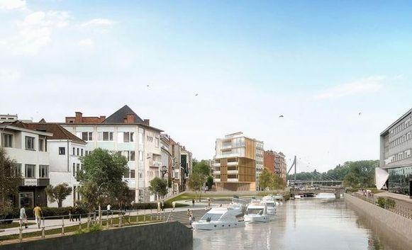 Een simulatie van de verdere verlaging van de Leieboorden, met ook een passantenhaven aan de Vismarkt. Zo zou het kunnen worden.