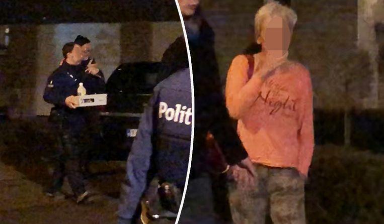 De buurvrouw wordt gearresteerd, de politie brengt brandversnellers in een doos naar buiten.