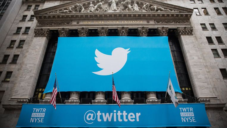 Twitter-logo op Wall Street, New York. Beeld getty