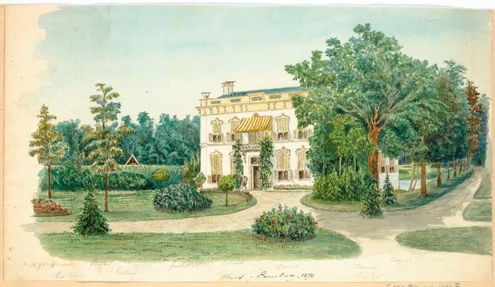 Een illustratie van huis De Eversberg uit 1870.