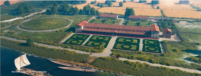 Artist's impression van een Romeinse villa in Overasselt.