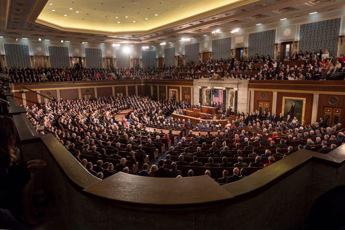 Het Congres tijdens de State of the Union van Donald Trump.