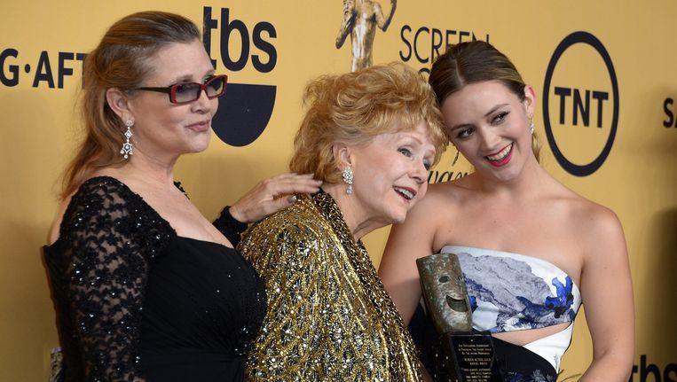 Drie generaties op een rij: Carrie Fisher, Debbie Reynolds en Billie Lourd.