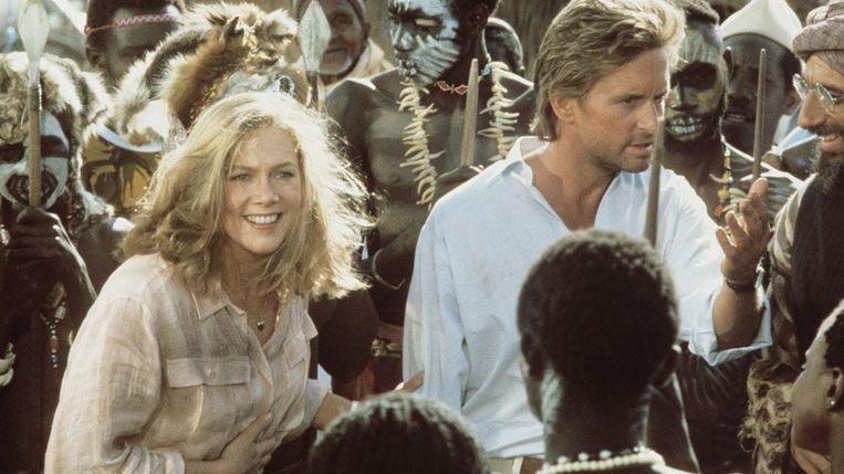 Kathleen Turner en Michael Douglas in The Jewel of the Nile. Beeld