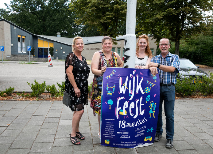 Ingrid Versteegen, Nanette Senthivel, Joyce Goevaers en Nico Rensen organiseren een buurtfeest voor Prinsejagt 1, 2 en Driehoeksbos.