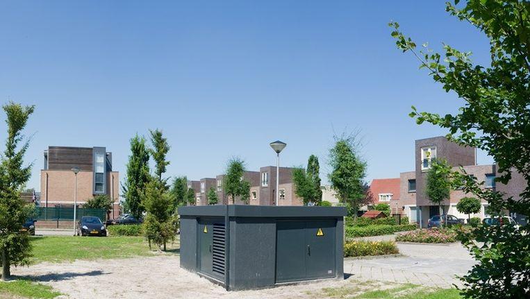 Als manager Innovatie is Han Slootweg mede verantwoordelijk voor deze buurtbatterij in Etten-Leur. Beeld Enexis
