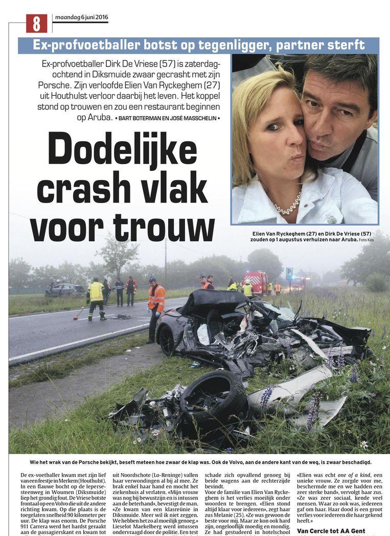 Elien Van Ryckeghem (27), de verloofde van voetbalmakelaar Dirk De Vriese, kwam om het leven.