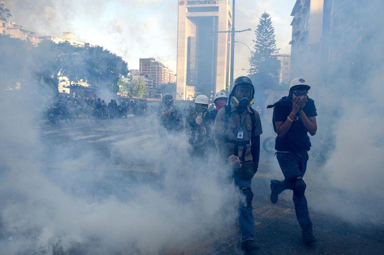 Protesten van de oppositie. Beeld AFP