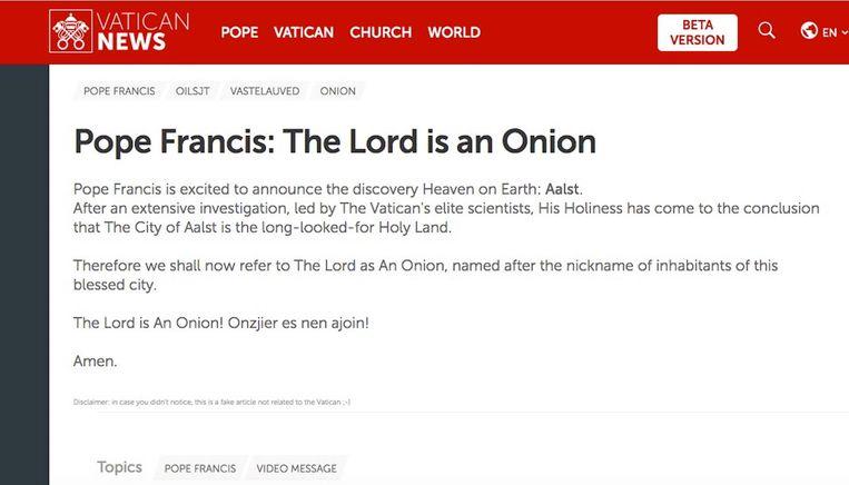 De 'pauselijke' aankondiging op de website van het Vaticaan.