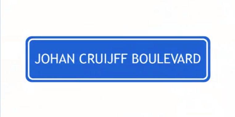 Impressie van het naambordje van de Johan Cruijff Boulevard. Beeld Screenshot twitterbericht Johan Cruyff Foundation