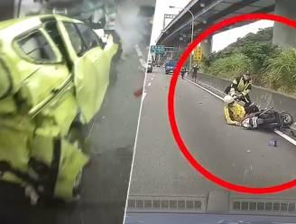 Scooterrijder veroorzaakt kettingbotsing met 10 voertuigen