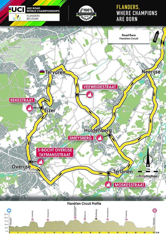 Het 'Flandrien-circuit', dat tussendoor wordt aangedaan.