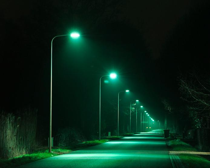 Groene led-straatverlichting op de Beckumerstraat in Boekelo.